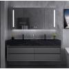现代岩板一体台盆浴室柜轻奢实木洗手台洗脸盆柜组合卫生间洗漱台